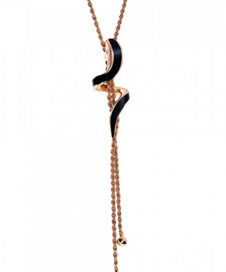 エデン ピンクゴールド ブラックセラミック ダイヤモンド ネックレス