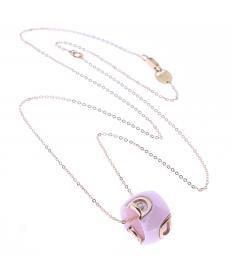 ディーアイコン ピンクゴールド ピンクセラミック ダイヤモンド ネックレス